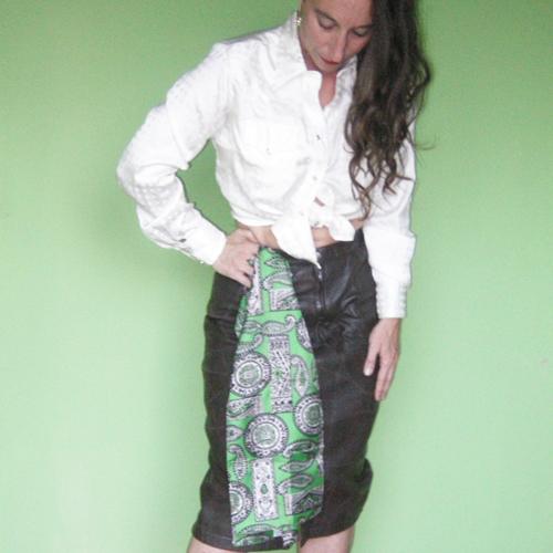 patchwork leather skirt midi 70s glenwood-the remix vintage fashion