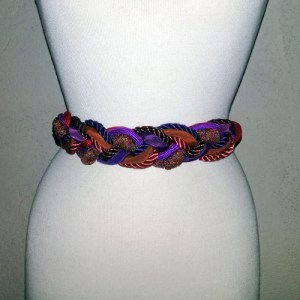80s cording belt red purple mauve-the remix vintage fashion