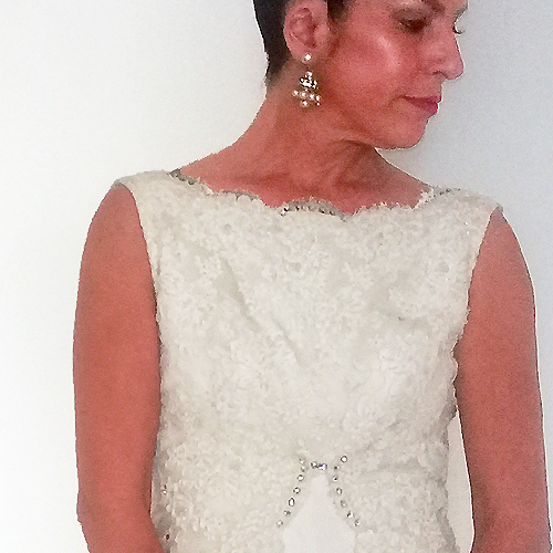 60s wedding gown white lace rhinestones-the remix vintage fashion