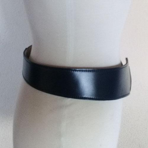 80s hip belt navy blue leather gold buckle Calderon-the remix vintage fashion