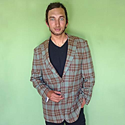 paul fredrick sportcoat 100% wool preppy plaid seafoam brown-the remix vintage fashion