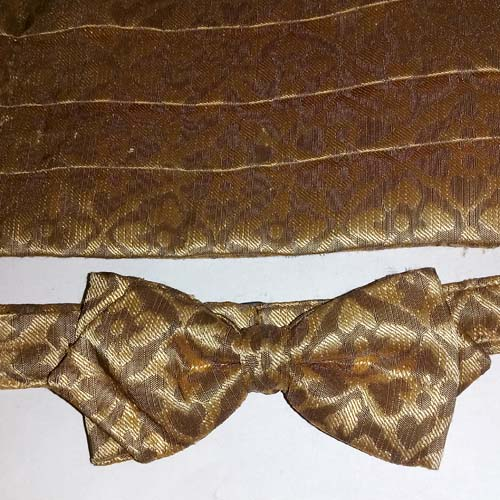 cummerbund set bow tie gold brocade-the remix vintage fashion