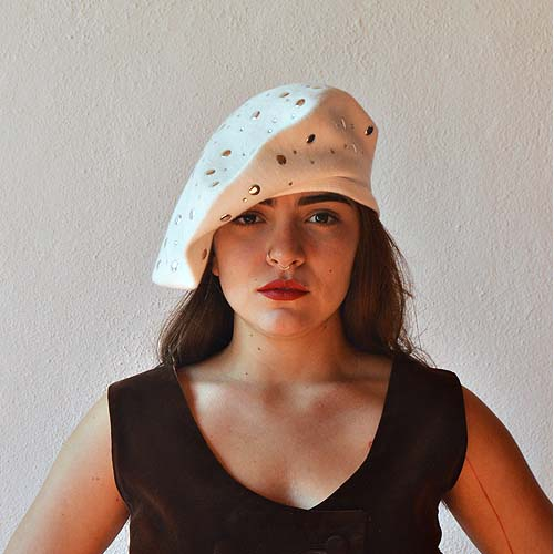 mixit beret white with silver studs-the remix vintage fashion