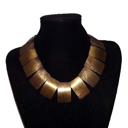 polished metal bib necklace art deco etching starburst-the remix vintage fashion