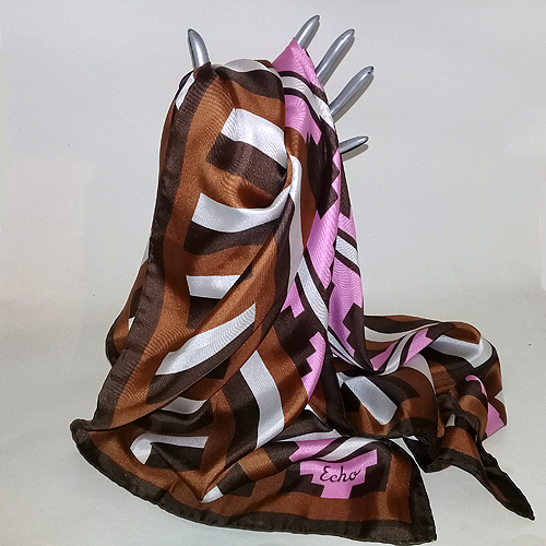 echo silk scarf japan pink brown caramel white 31 square-the remix vintage fashion