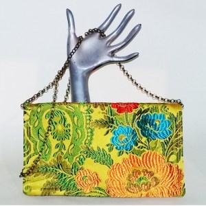 gold brocade clutch chain shoulder bag-the remix vintage fashion