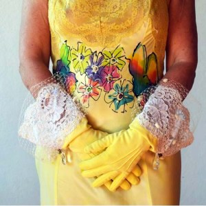 yellow gloves hand dyed upcycle wrist lace netting crystal accents-the remix vintage fashion