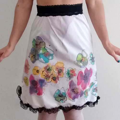 mod flower mini skirt upcycle transformed lingerie sliptique-the remix vintage fashion