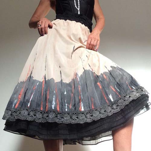 circle skirt dipped hem crochet edge metallic accents-the remix vintage fashion