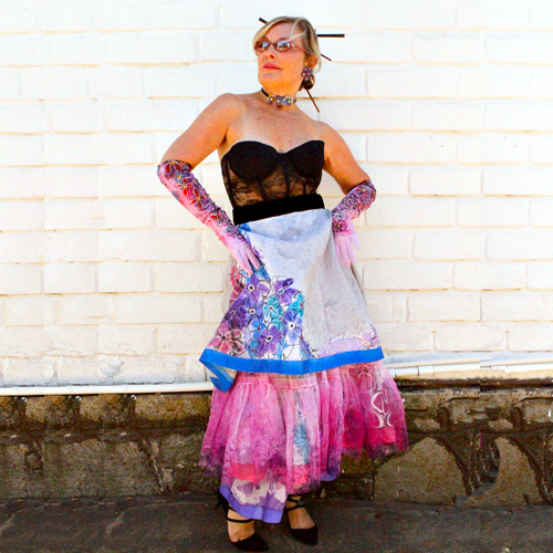 tiered layered maxi skirt boho style hand painted-the remix vintage fashion