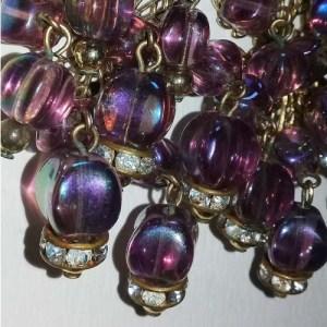 60s Chandelier Earrings Pink Rhinestone Rondelles Mod-the remix vintage fashion