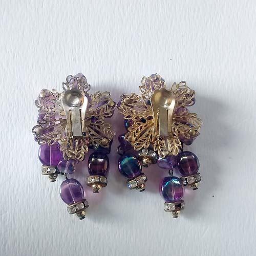 60s chandelier earrings pink rhinestone mod-the remix vintage fashion