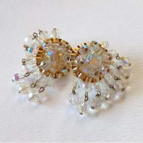 60s aurora borealis crystal dangle earrings-the remix vintage
