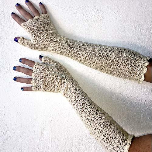fingerless crochet gloves art deco-the remix vintage fashion