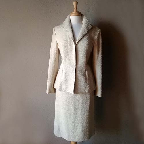 adoph schuman for lilli ann suit 70s wool boucle-the remix vintage fashion