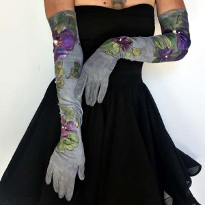 long formal evening gloves dyed painted purple flowers-the remix vintage fashion