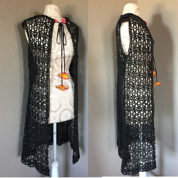 60s mod vest black lace cording velvtet trim flower bobbles-the remix vintage fashion