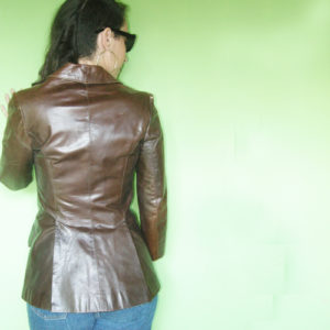 Beged-or leather jacket couturier details-the remix vintage fashion
