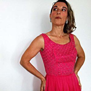 50s mardi gras dress pink silk chiffon rhinestones-the remix vintage fashion