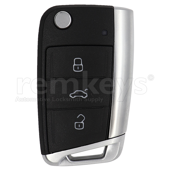 Golf7 3 Button Flip Remote Case - Metalic