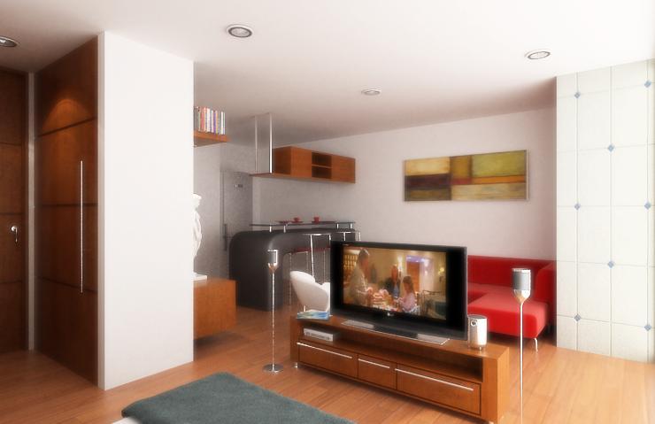 Diseño de apartamentos pequeños, tipo estudio, modernos (5/5)