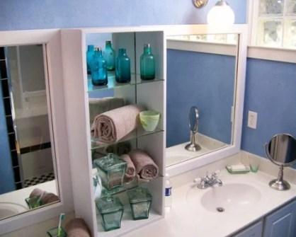 shelves between vanity sinks