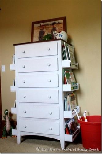 shelves on sides of dresser