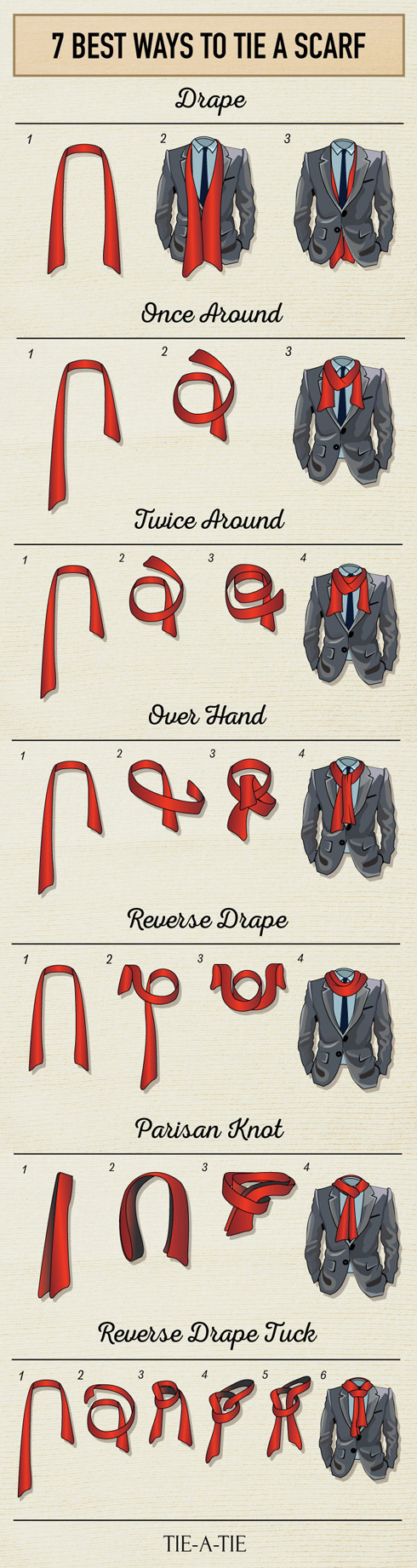 7 Best ways to Tie a Men's Scarf from Tie-a-Tie. Next time it is cool out, don't forget your scarf and tie it in one of these fancy manly ways. 7 Best Ways to Tie a Men's Scarf via tipsaholic.com #scarf #men #tieascarf #scarves