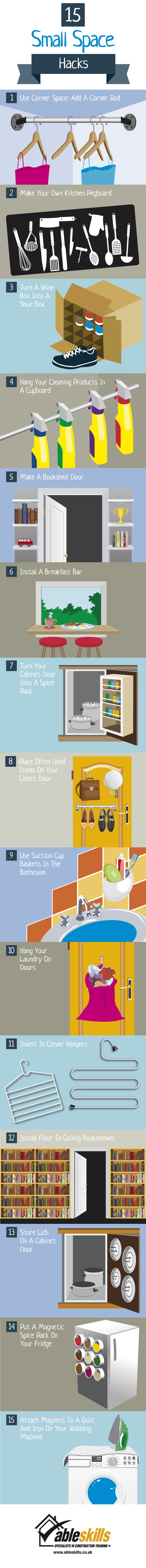 Check out these amazing 15 Small Space Hacks from Able Skills. Hopefully these ideas will help maximize your small spaces. 15 Small Space Hacks Infographic via @tipsaholic #smallspaces #hacks #lifehacks #rental #apartments