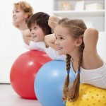 Happy healthy kids exercising