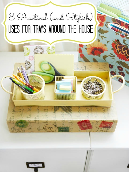 Can't pass up a pretty tray? Here are 8 uses for trays around the house, from the bathroom to the kitchen. Read on to see just how useful a tray can be! 8 Practical (and Stylish) Uses for Trays Around the House via tipsaholic.com #trays #home #homedecor #decorations #interiordesign