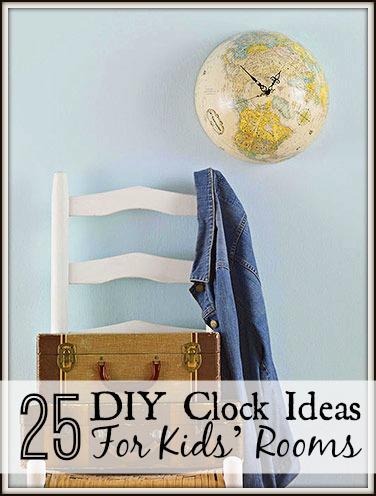25 DIY Clock Ideas For Kids' Rooms via tipsaholic.com
