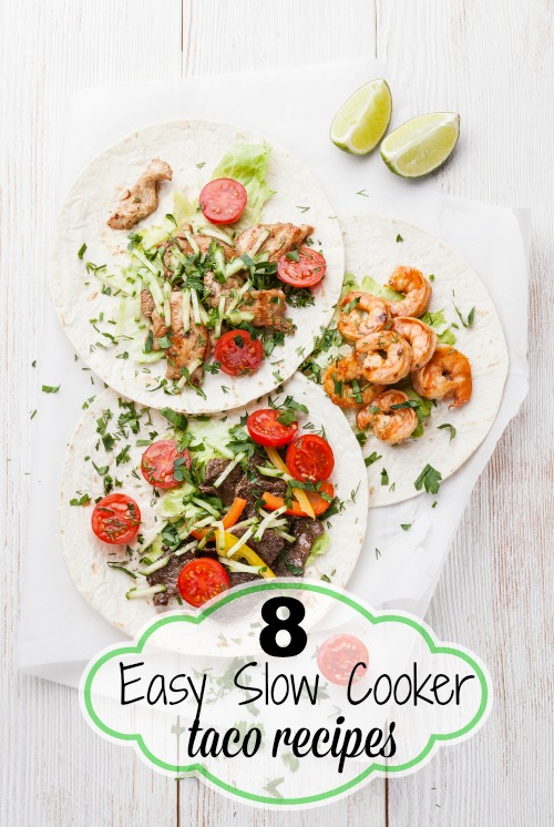 Make your taco dinners even easier by cooking the meat in a slow cooker. Here are 8 easy slow cooker taco recipes for busy days! 8 Easy Slow Cooker Taco Recipes via @tipsaholic #tacos #slowcooker #recipes #taco