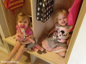 The girls in their mud hall cubbies