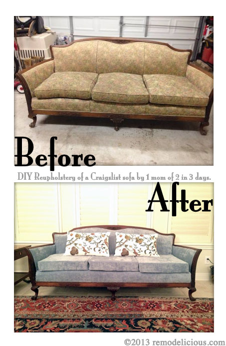 Re Upholstering An Antique Sofa The Diy Way Remodelicious