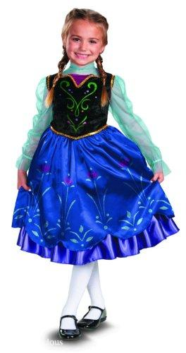 I love that this version is shorter since the Disney Store Anna dress is floor length and I like being able to buy a size up to get more wear out of costumes.  This version does not include a cloak like the Disney Store version, but capes and cloaks are easy to come by (and make) for a bargain.  This dress is well under $30 on Amazon.com.