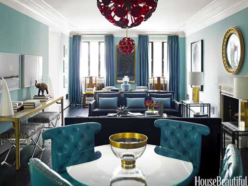 Brass can play nice with cool tones as well, just look at this brass + blue living room.  via House Beautiful