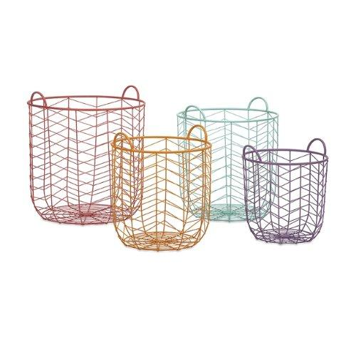 Metal wire chevron colorful modern basket style bins. Amazing! | Remodelicious