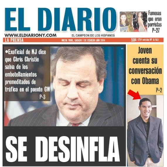 portada Estudiante dominicano elogiado por Obama en portada de diario neoyorquino