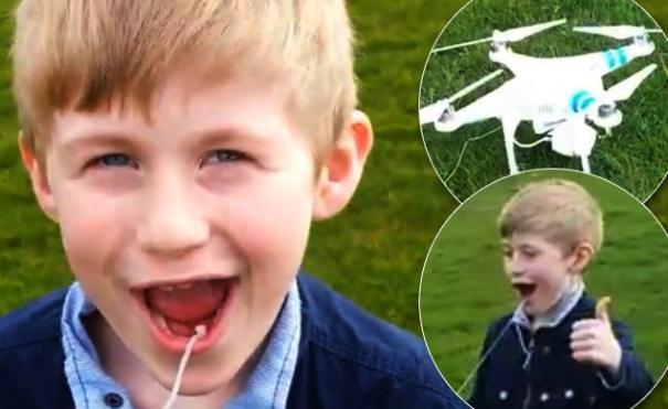 dad toy helicopter pull tooth Le saca un diente a su hijo usando un helicóptero a control remoto