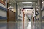 Hospital hallway in a large metropolitan hospital.