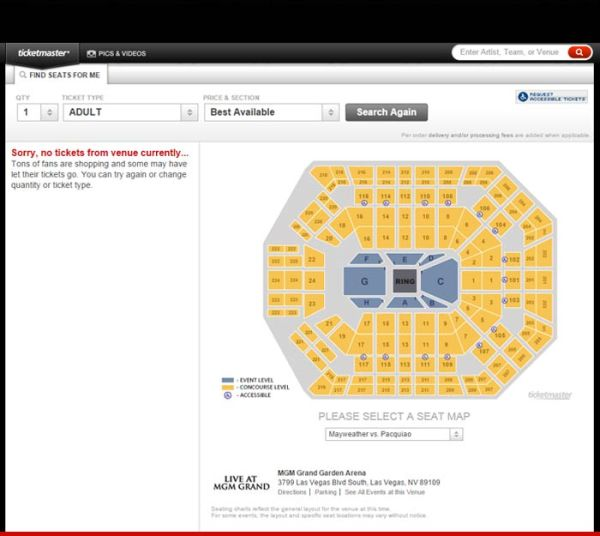 0423 sold out ticketmaster 2 Mayweather vs Pacquiao   entradas se agotan en 60 segundos