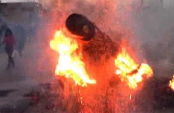 image230 Video   Policía arde a lo bonzo en Perú