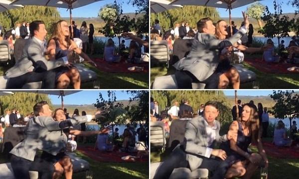 image464 Video   Tipo salta de una silla para evitar jeva agarre el ramo en la boda