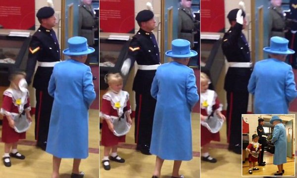 Guard salutes slaps a little girls face when queen passes by Ruth Mosalski ?@ruthmosalski Maisie's big moment.