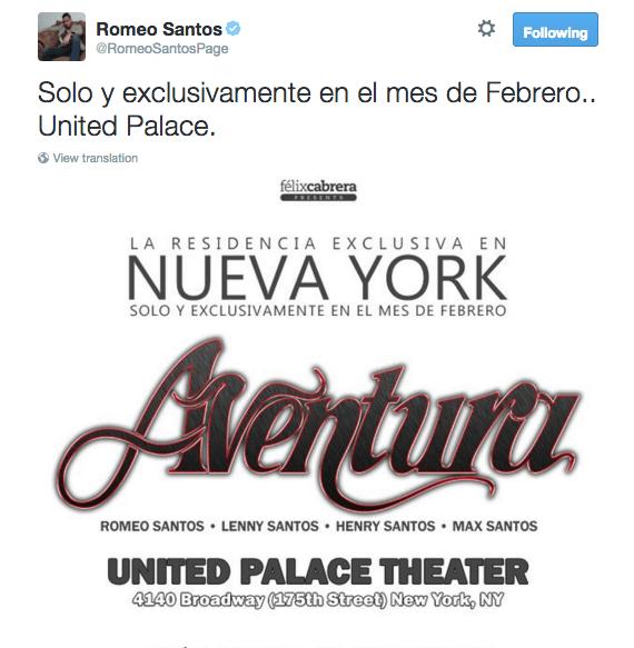 Aventura Reunion Tour