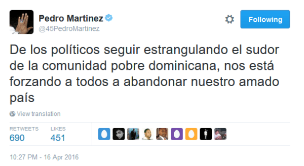 Mensaje de Pedro Martínez