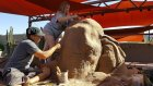 Escultura de arena de un elefante