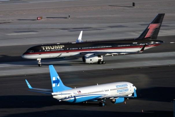 aviones La foto viral de los aviones de Clinton y Trump