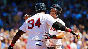 """xander bogaerts y david ortiz """"En la alineación de los Red Sox es notable la ausencia de David Ortiz"""""""